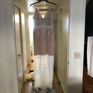 NWT Beige and show sheer maxi dress
